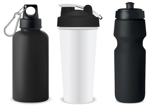スポーツボトルセット。水フラスコのモックアップ。プロテイン缶