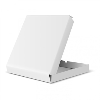 ピザボックスモックアップ。白い食品パッケージの空白のデザイン