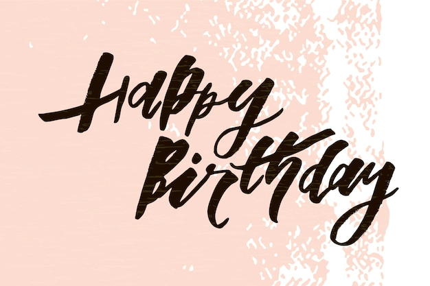 Надпись с фразой с днем рождения. векторная иллюстрация цвет