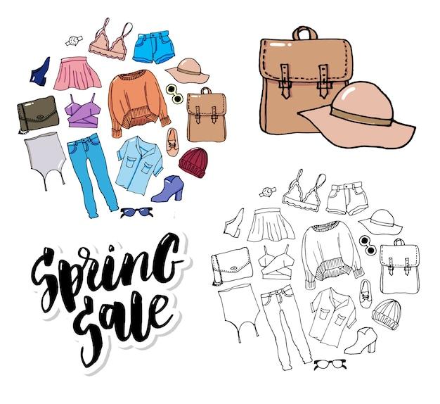 Комплект одежды тонкой линии в стиле модной иллюстрации распродажа