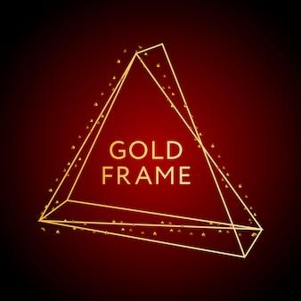 幾何学的な枠線と金色の粒子とゴールドフレームデザイン