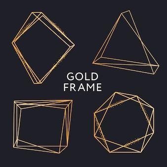 ゴールドフレームの幾何学的形状のミニマリズムベクトルデザインバナーセット