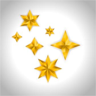 Золотые реалистичные звезды на сером
