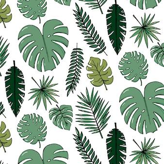 熱帯の濃い緑色の葉のビーチの陽気なパターンの壁紙