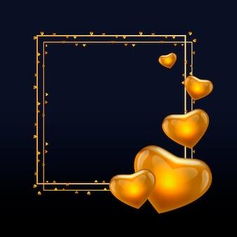 豪華な白いグリーティングカードのベクトルゴールデンリースリングフレームとゴールドバレンタインデー書道テキスト。