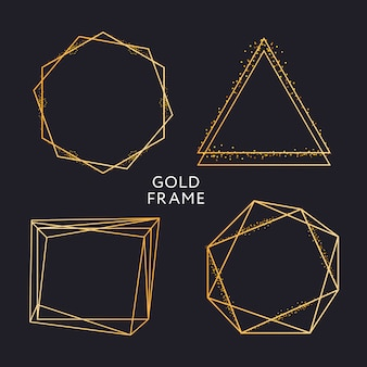 Золотая рамка декора изолированная блестящим золотым металлическим градиентом