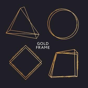 Золотая рамка декора изолированная вектор блестящее золото