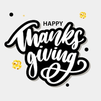 幸せな感謝祭ブラシ手ステッカーレタリング