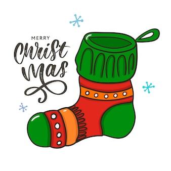 Новогоднего атрибута рождественский носок с надписью традиционный цвет
