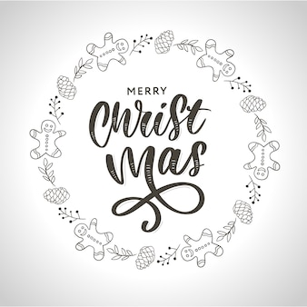 バンプ、モミの枝、クリスマスの装飾と手描きインククリスマスリース。