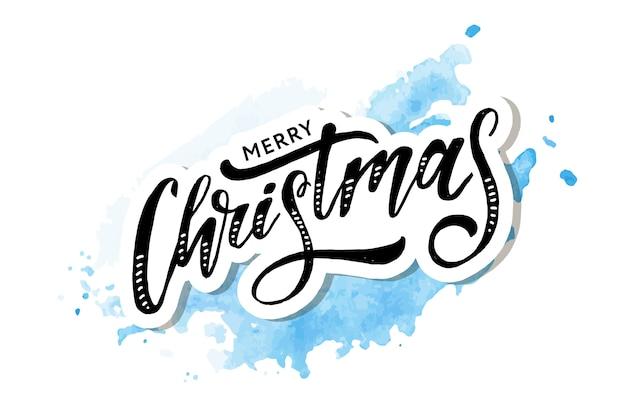 Рождественские надписи каллиграфия кисти текст праздничная наклейка акварель