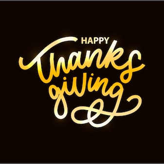 黄金の幸せな感謝祭の書道
