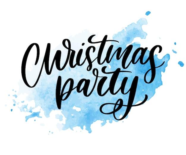 Рождественская вечеринка плакат шаблон. рукописные буквы, игристые типографии.