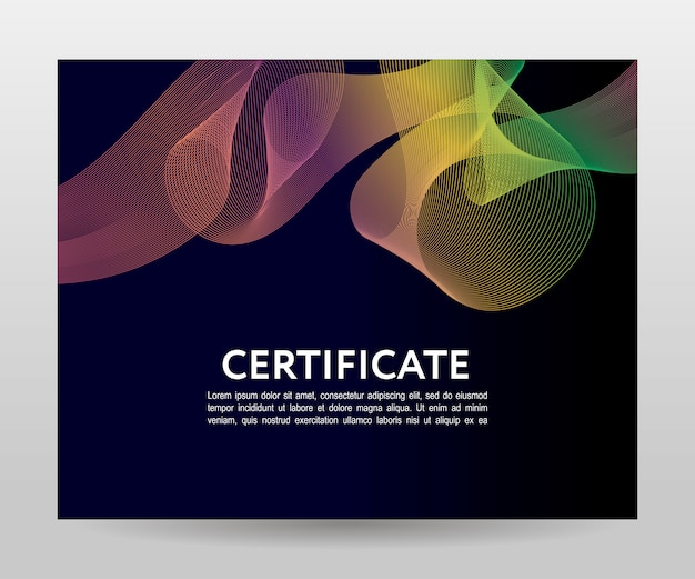 証明書テンプレートの卒業証書。ベクトルグラデーションフレーム