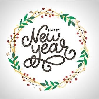 花輪と新年レタリンググリーティングカード