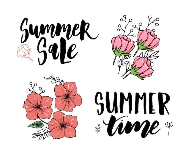 ベクトルイラスト:夏休みスローガンこんにちは夏セールセットのブラシ文字構成
