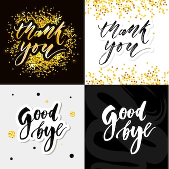 Спасибо, слоган, прощай, каллиграфия черным текстом слово золотые звезды. ручной обращается приглашение дизайн футболки печати. рукописные современной кистью надписи белый набор