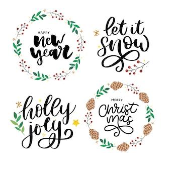 Рождество, новый год. рождественские поздравительные концепции. полиграфический дизайн векторные иллюстрации. векторная иллюстрация каллиграфии. набор слоганов
