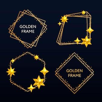 Вектор золотая рамка. сияющий прямоугольник баннера