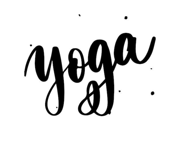 Логотип йоги. элегантная ручная надпись.
