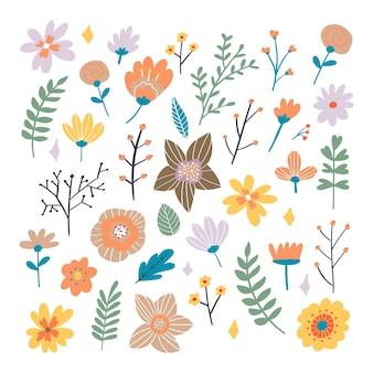 Цветочный букет из рисованной фантазии народных цветов. ботаническая иллюстрация в плоском мультяшном стиле. отлично, как баннер, печать и карты.