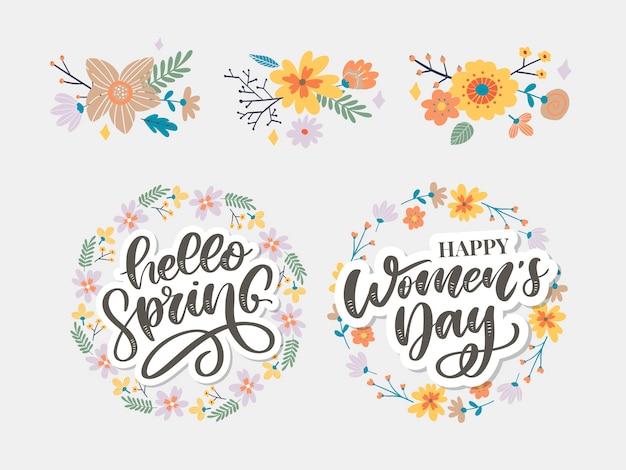 花を持つ女性の日とこんにちは春のテキストデザイン