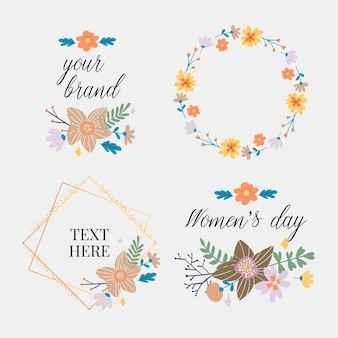 Коллекция цветочная рамка. набор милых ретро-цветов в виде венка, идеально подходящего для свадебных приглашений и поздравительных открыток