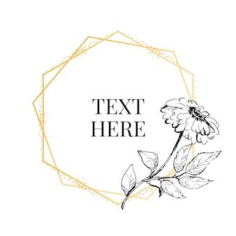 ビンテージガーデンのさまざまな花の丸い花輪を持つ美しいカード。バラ、アジサイ、ミントの背景に犬ローズの黒と白のフレーム。
