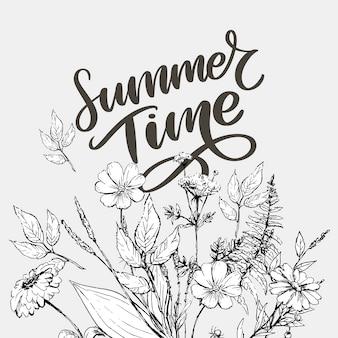 Зеленое летнее время письмо цветы в современном стиле на фоне красочных. приветствие приглашение векторные иллюстрации. оформление цветочного букета. элемент декора.
