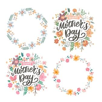 幸せな母の日レタリング。手作り書道ベクトルイラスト。花の母の日カード