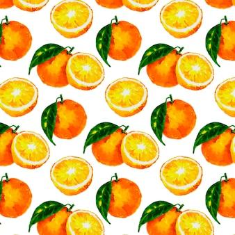 水彩の柑橘類とのシームレスなパターン:レモン、オレンジ、グレープフルーツ