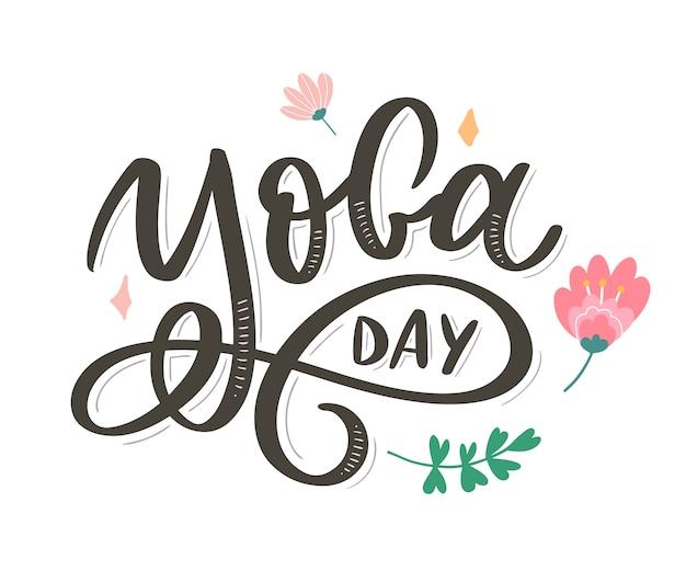 Надпись йога. справочная информация международный день йоги. для плаката, футболки, сумки. йога типография. векторные элементы для этикеток, логотипов, значков, значков.