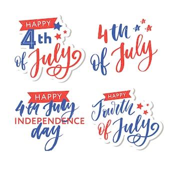 フォントでハッピー独立記念日のグリーティングカード。図。