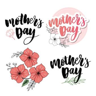 Текст каллиграфии и сердце в рамке на красном фоне для дня матери.