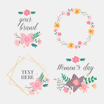花のフレームコレクション。キュートなレトロな花のセットは、結婚式の招待状や誕生日カードに最適な花輪の形に配置されています。