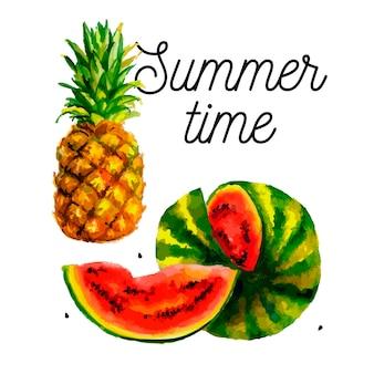 プリント用のスイカパイナップル。カラフルなフードセット。甘い果実。ベクトルカラーイラスト。水彩ファッションプリント。