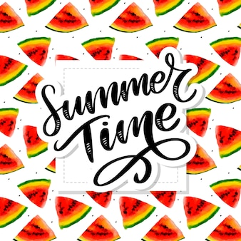 Летнее время арбуз бесшовные акварель, сочный кусочек, летний состав красных кусочков арбуза. ручная работа .. для вас с.