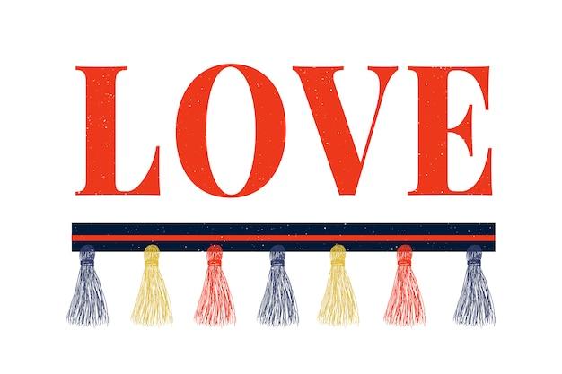 現代のファッションスローガンを愛するレタリングスローガン