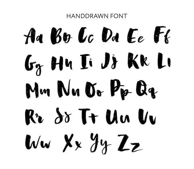 手描きのレタリングセット。ベクトルのアルファベットカスタムタイポグラフィ