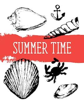 貝殻のシームレスなパターン、ベクトル、イラスト。マリン。