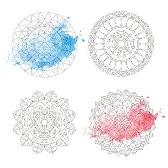 マンダラカラーリングイラスト水彩花アートラウンド