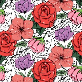 スケッチされた花の鮮やかな色の背景に印刷