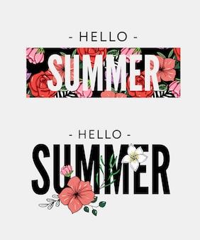 パイナップルと熱帯の花イラスト夏の休日のスローガン