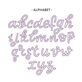手描き書体タイポグラフィーのアルファベット