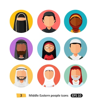 ベクトル中東アラブ人の人々のアイコンアバター