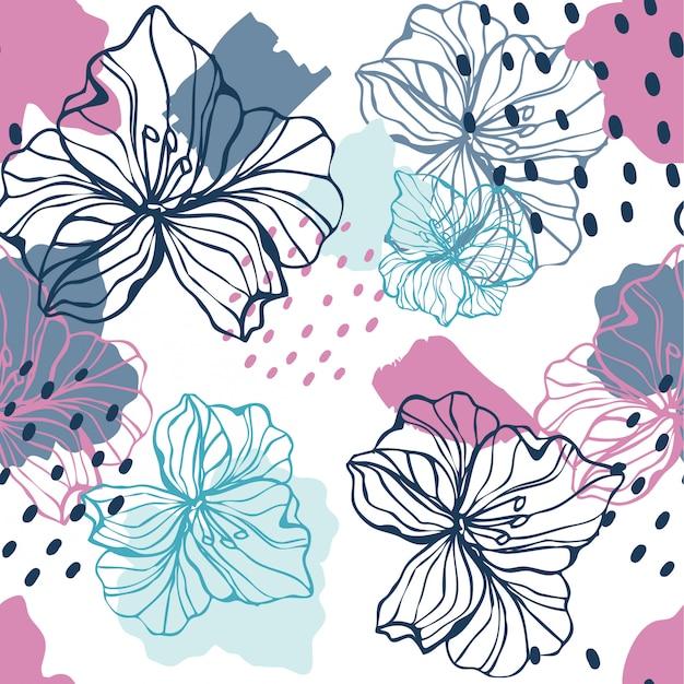 シームレスな花柄。抽象的な花柄のデザイン