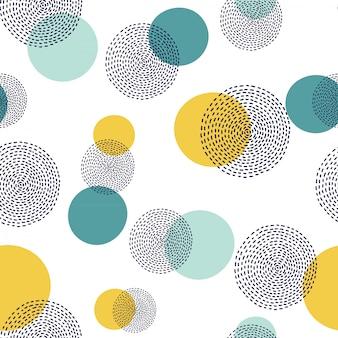 抽象的な手描画円パターン。シームレスな水玉模様。