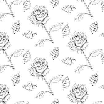 Ручной обращается эскиз техника розы бесшовные векторные шаблон.