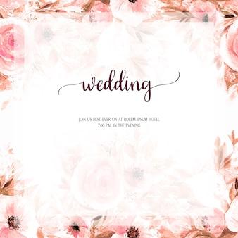 Свадебное приглашение дизайн карты акварель цветок фон.
