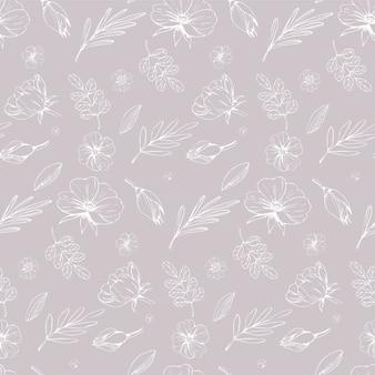 Цветочные пастельные цвета бесшовные модели. ткань и текстильный дизайн с контурными цветами на бежевом